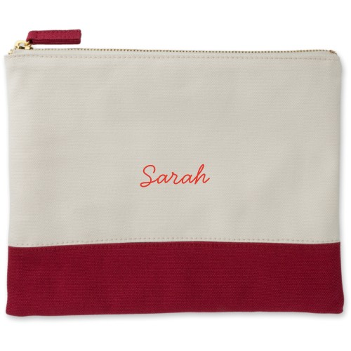 Make It Yours Canvas Pouch, Red, Large Pouch, White