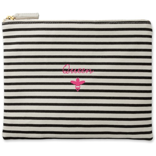 Queen Bee Canvas Pouch, Striped Black, Large Pouch, White