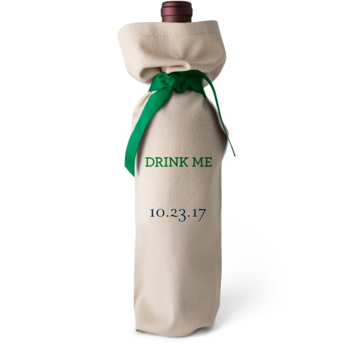 Special Date Wine Bag, Wine Bag Linen, Add Personalization, Drink Me, White