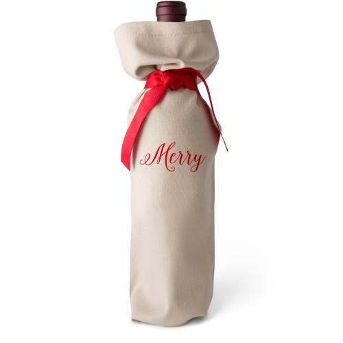 Cheers Wine Bag, Wine Bag Linen, No Personalization, Merry, White