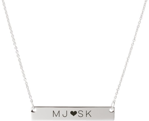 Perfect Pair Heart Engraved Bar Necklace, Silver, Engraved Necklace Double Side
