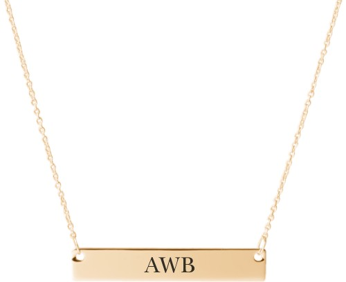 Three Letter Monogram Engraved Bar Necklace, Gold, Engraved Necklace Double Side