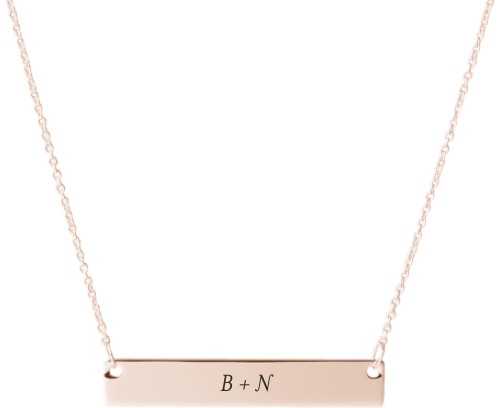 Plus Two Monogram Engraved Bar Necklace, Rose Gold, Engraved Necklace Single Side
