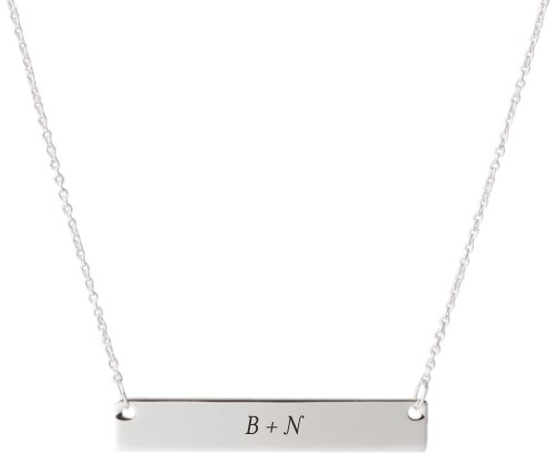 Plus Two Monogram Engraved Bar Necklace, Silver, Engraved Necklace Single Side