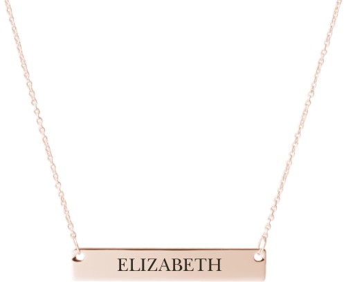 Make It Yours Engraved Bar Necklace, Rose Gold, Engraved Necklace Single Side