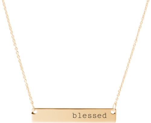 Blessed Engraved Bar Necklace, Gold, Engraved Necklace Double Side