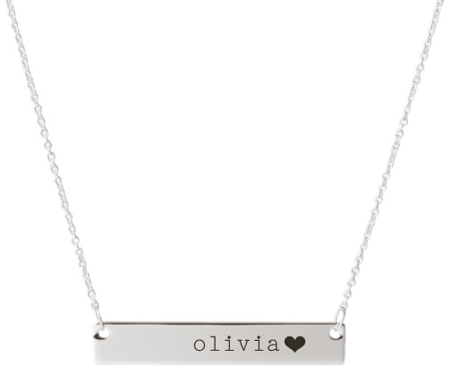 Heart End Engraved Bar Necklace, Silver, Engraved Necklace Single Side
