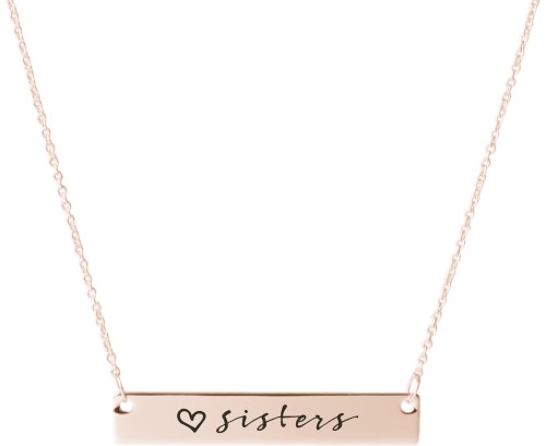 Sisters Love Engraved Bar Necklace, Rose Gold, Engraved Necklace Double Side