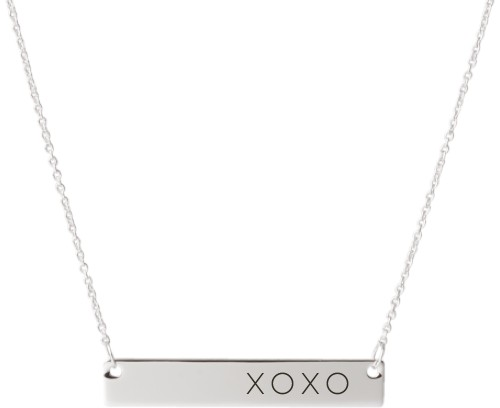 Hug Kiss Hug Engraved Bar Necklace, Silver, Engraved Necklace Single Side