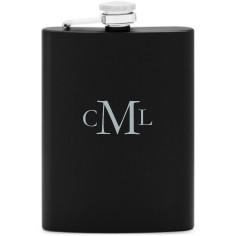 three letter monogram flask