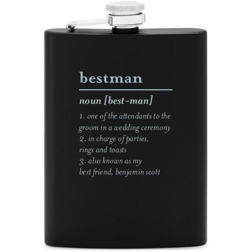 Best Man Flask, Matte Black, Flask Double Side, Stainless Steel, White