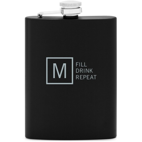 Fill Drink Repeat Flask, Matte Black, Flask Double Side, Stainless Steel, White