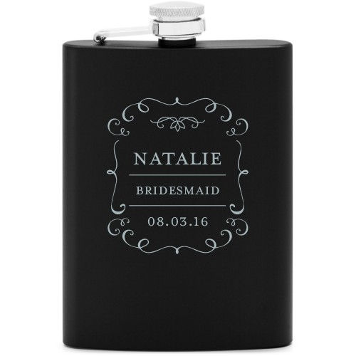 Whimsical Frame Flask, Matte Black, Flask Double Side, Stainless Steel, White