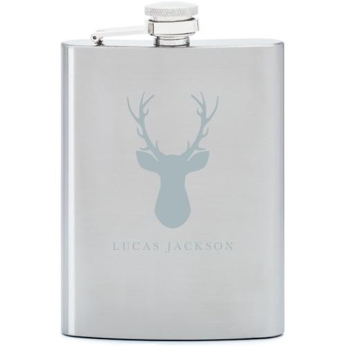 Deer Silhouette Flask, Stainless Steel, Flask Single Side, Stainless Steel, White
