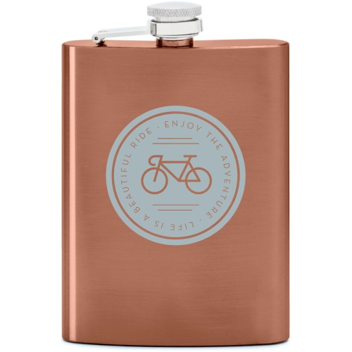 Beautiful Ride Flask, Copper, Flask Single Side, Stainless Steel, White