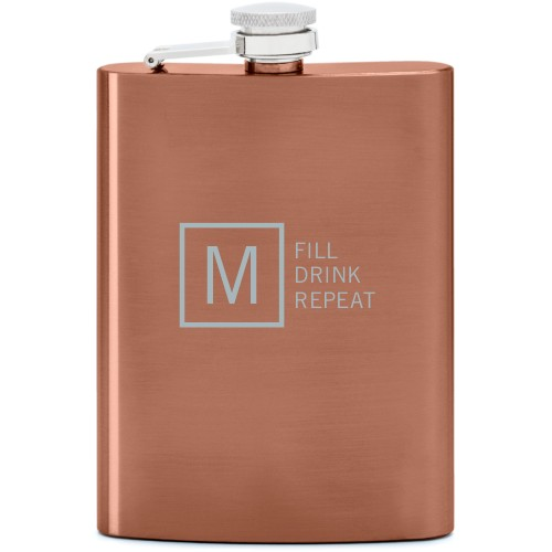 Fill Drink Repeat Flask, Copper, Flask Double Side, Stainless Steel, White