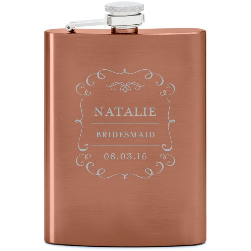 Whimsical Frame Flask, Copper, Flask Double Side, Stainless Steel, White