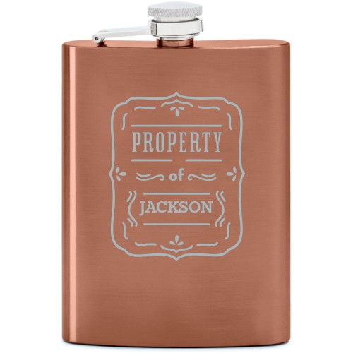Property Of Flask, Copper, Flask Double Side, Stainless Steel, White
