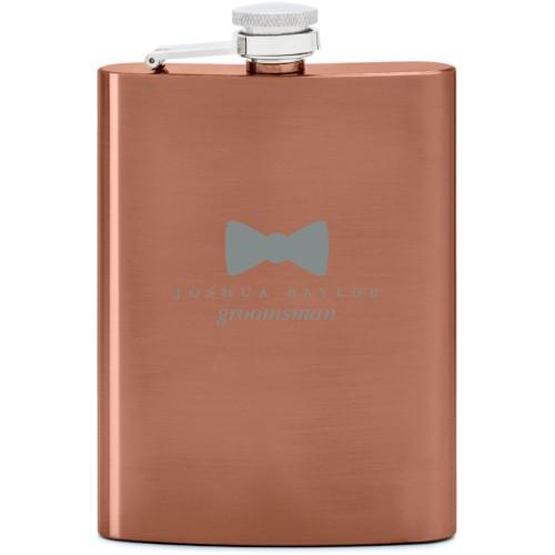 Bowtie Flask, Copper, Flask Single Side, Stainless Steel, White