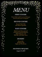 sparkling romance wedding menu