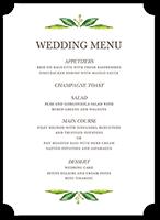 White wedding menu cards shutterfly junglespirit Images