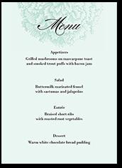 grandeur affair wedding menu