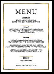 lavish accent wedding menu