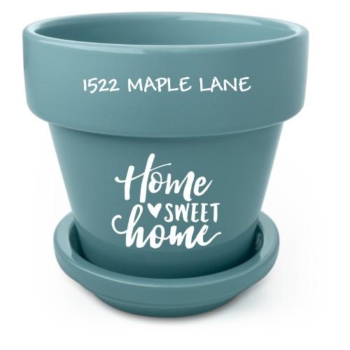 Home Sweet Home Flower Pot, Blue, White
