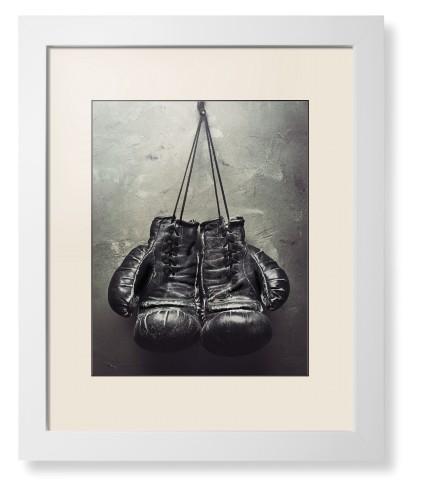 Boxing Gloves Framed Print White