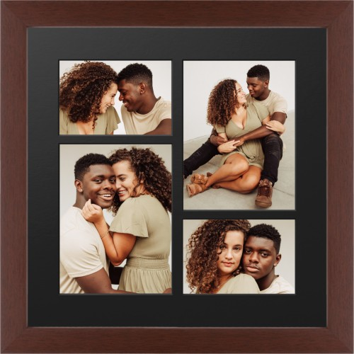 Mixed Four Up Portrait Deluxe Mat Framed Print, Brown, Contemporary, Black, Single piece, 16 x ...