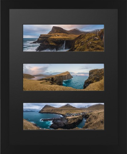 Panoramic Three Up Deluxe Mat Framed Print, Black, Contemporary, Black, Single piece, 16 x 20 ...