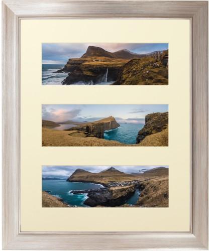 Panoramic Three Up Deluxe Mat Framed Print, Metallic, Modern, Cream, Single piece, 16 x 20 ...