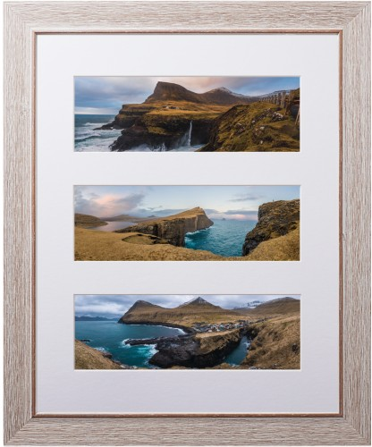 Panoramic Three Up Deluxe Mat Framed Print, Rustic, Modern, White, Single piece, 16 x 20 ...