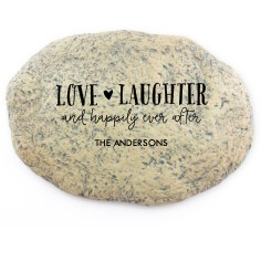 love and laughter garden stone