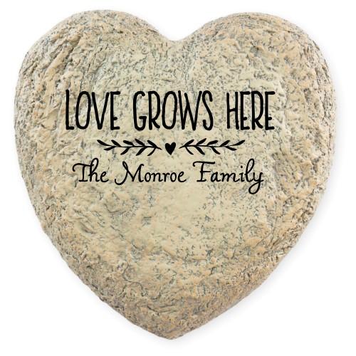 Love Grows Garden Stone, Heart Shaped Garden Stone (9x9), White