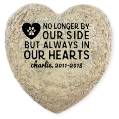 in our hearts pawprint garden stone