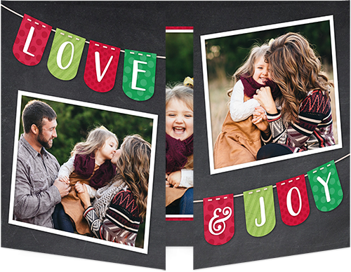 Colorful Love And Joy Christmas Card, Square Corners