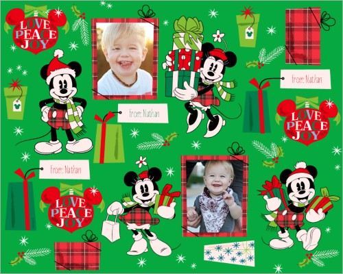 Disney Mickey And Minnie Gifts Gift Wrap, 6 feet, Green
