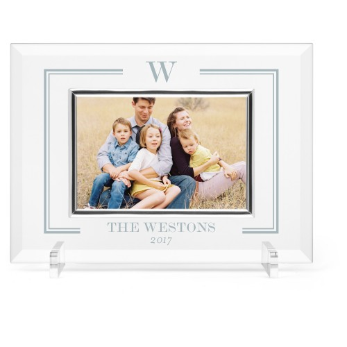 Keyline Monogram Glass Frame, 11x8 Engraved Glass Frame, - Photo insert, White