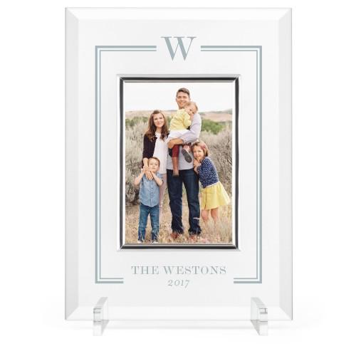 Keyline Monogram Glass Frame, 8x11 Engraved Glass Frame, - Photo insert, White