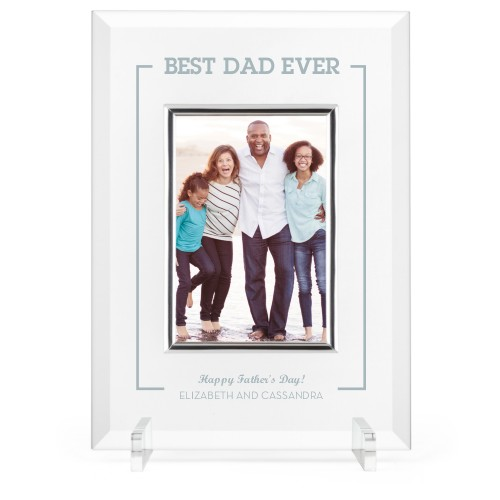 Best Dad Ever Glass Frame, 8x11 Engraved Glass Frame, - No photo insert, White