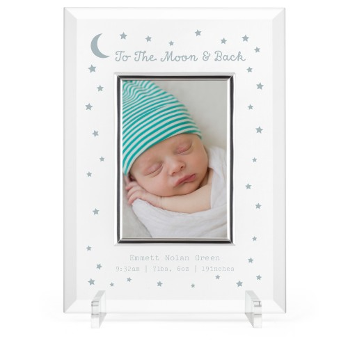 To The Moon and Back Glass Frame, 8x11 Engraved Glass Frame, - No photo insert, White