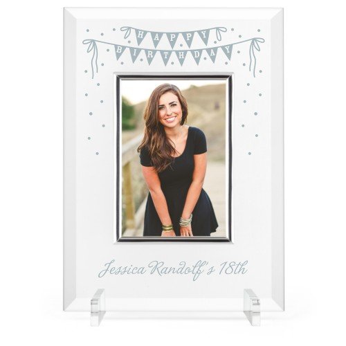 Birthday Banner Glass Frame, 8x11 Engraved Glass Frame, - Photo insert, White