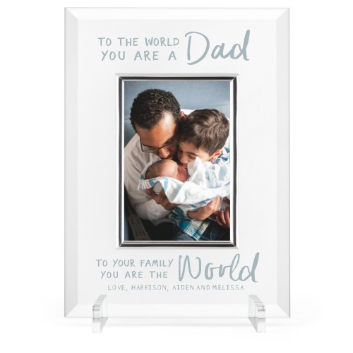 My Dad My World Glass Frame, 8x11 Engraved Glass Frame, - Photo insert, White