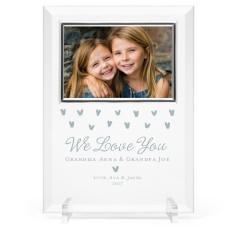 heart confetti glass frame