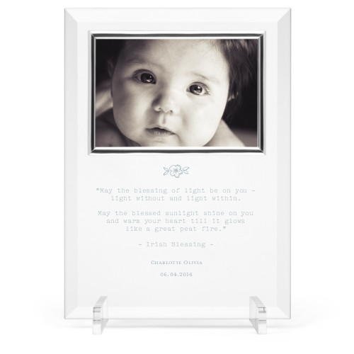 A Beautiful Blessing Glass Frame, 8x11 Engraved Glass Frame, - No photo insert, White