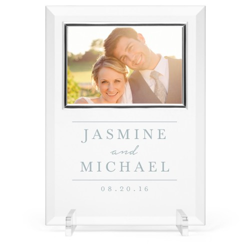 Simple Lines Glass Frame, 8x11 Engraved Glass Frame, - No photo insert, White