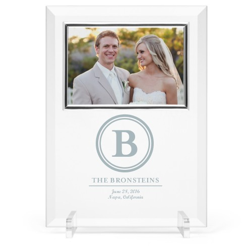 Classic Circle Glass Frame, 8x11 Engraved Glass Frame, - No photo insert, White