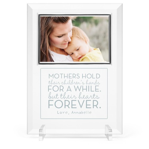 A Mother's Love Glass Frame, 8x11 Engraved Glass Frame, - Photo insert, White