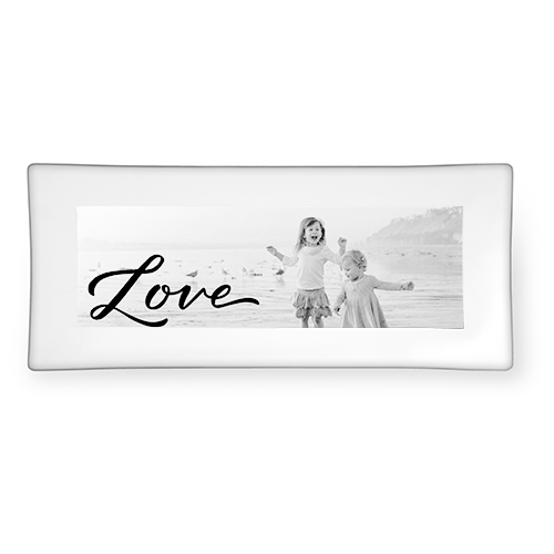 Scripted Love Memory Catch All Tray, 4x10, Black